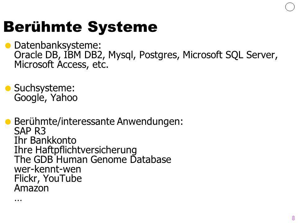 Berühmte Systeme Datenbanksysteme: Oracle DB, IBM DB2, Mysql, Postgres, Microsoft SQL Server, Microsoft Access, etc.