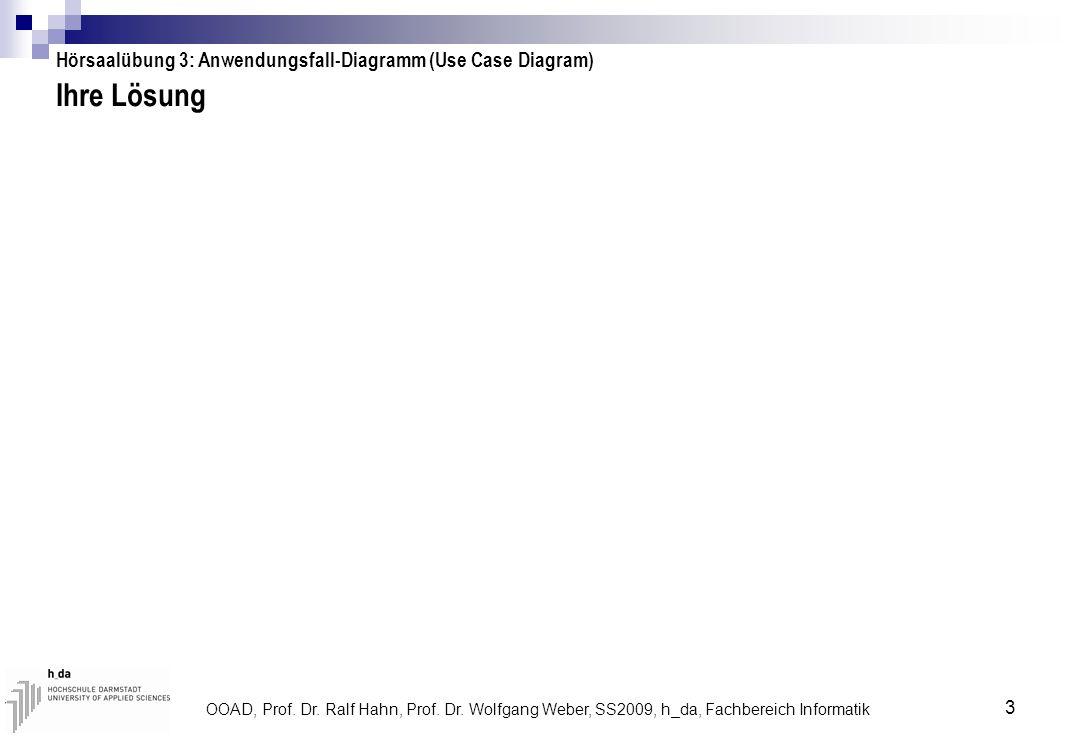 Ihre Lösung Hörsaalübung 3: Anwendungsfall-Diagramm (Use Case Diagram)