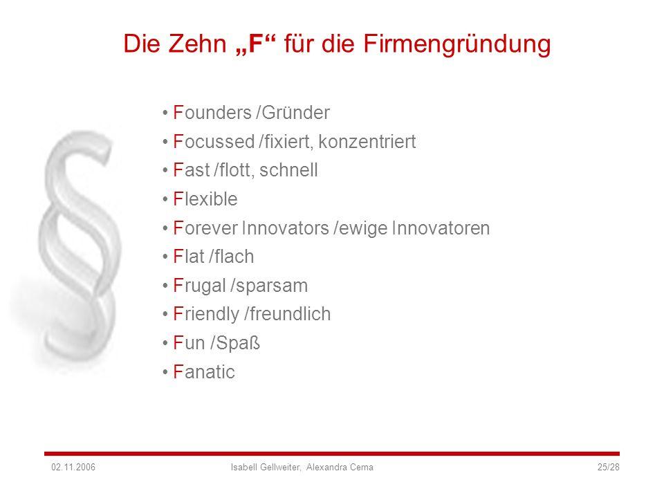 """Die Zehn """"F für die Firmengründung"""