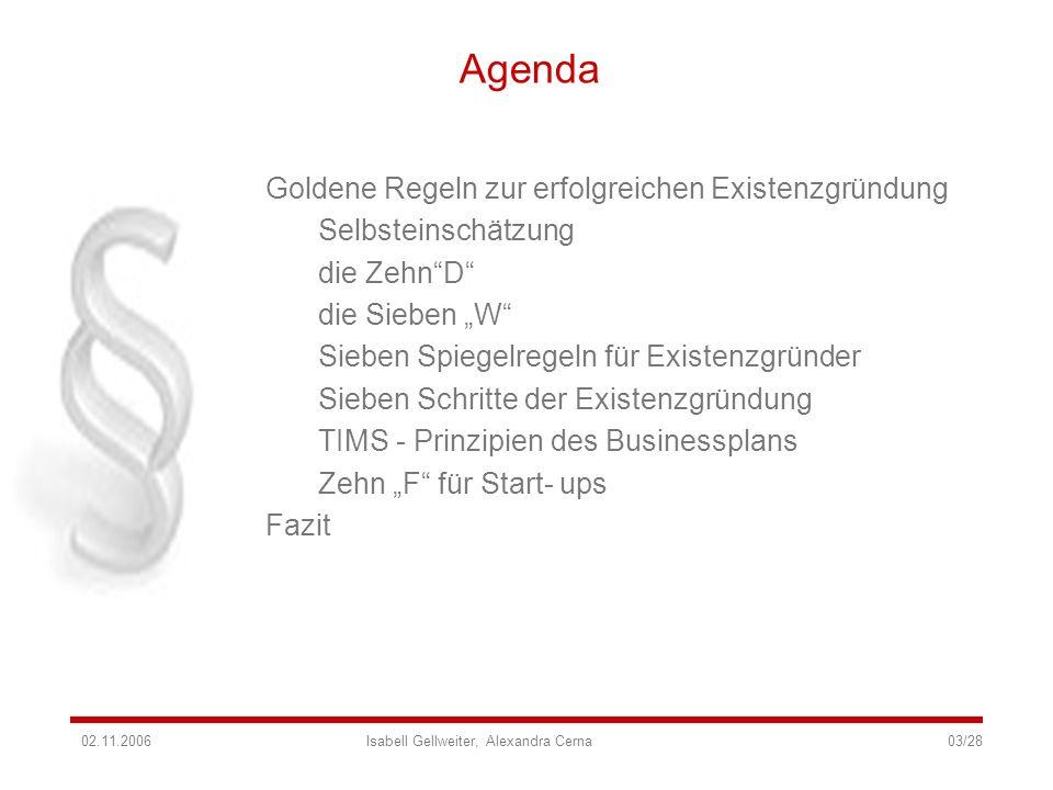 Agenda Goldene Regeln zur erfolgreichen Existenzgründung