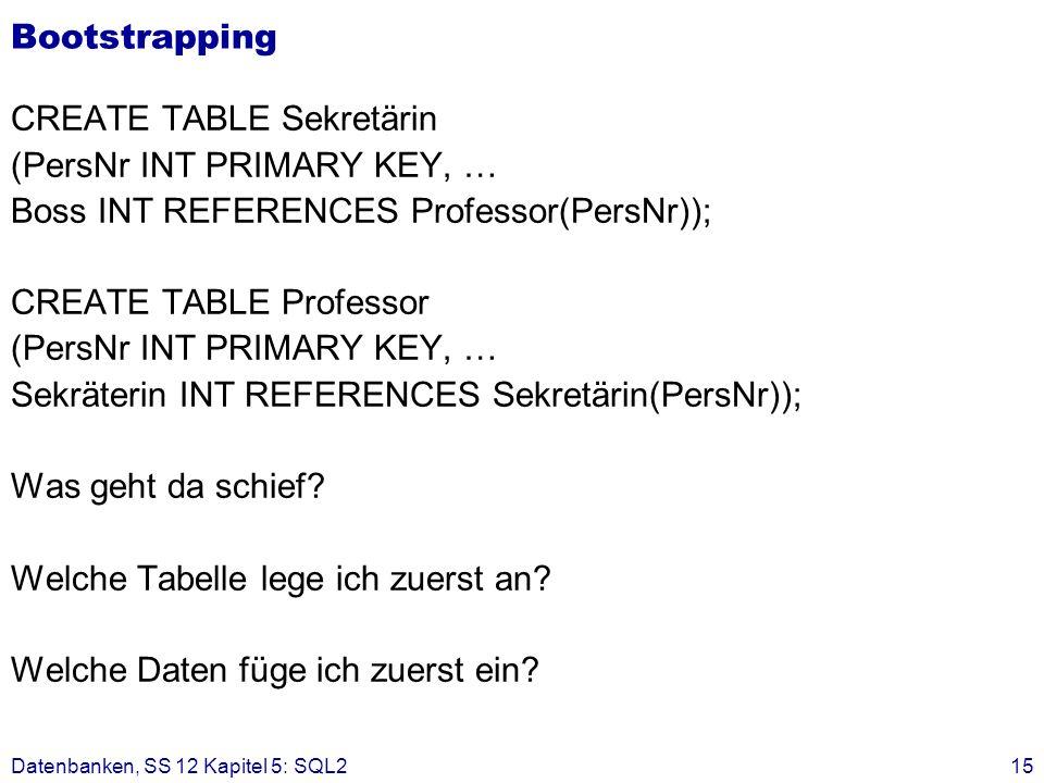 CREATE TABLE Sekretärin (PersNr INT PRIMARY KEY, …