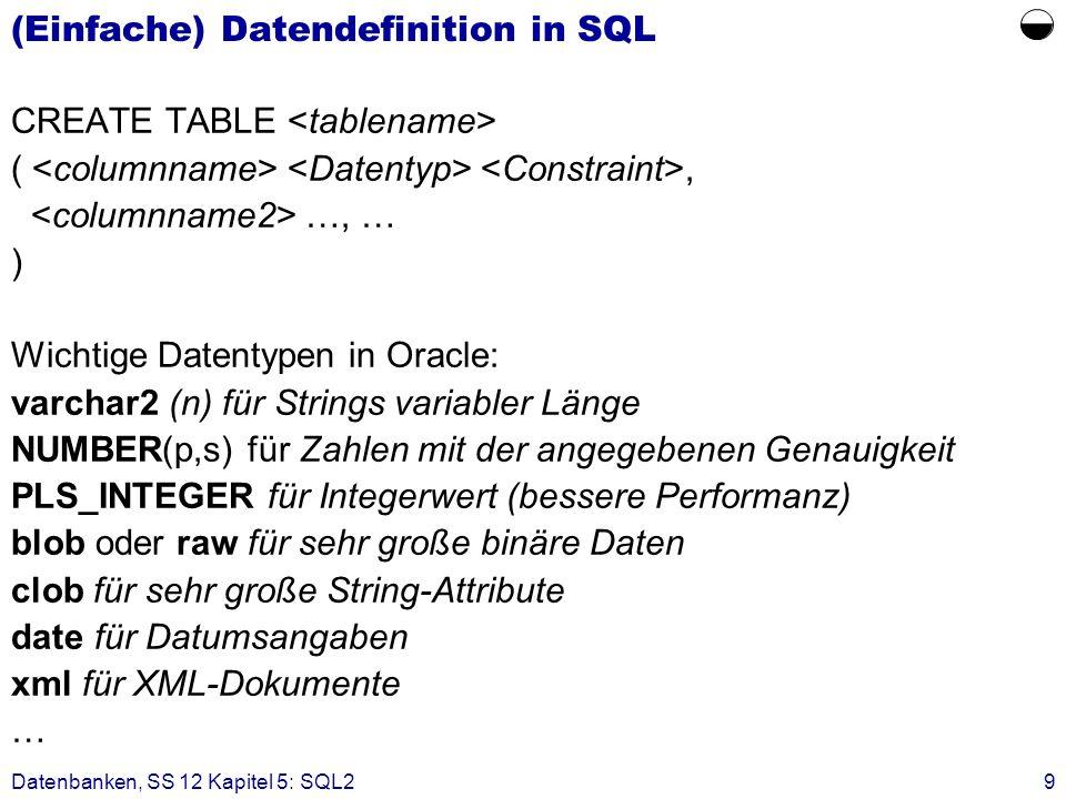 (Einfache) Datendefinition in SQL