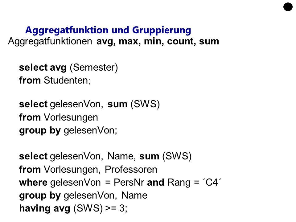 Aggregatfunktion und Gruppierung