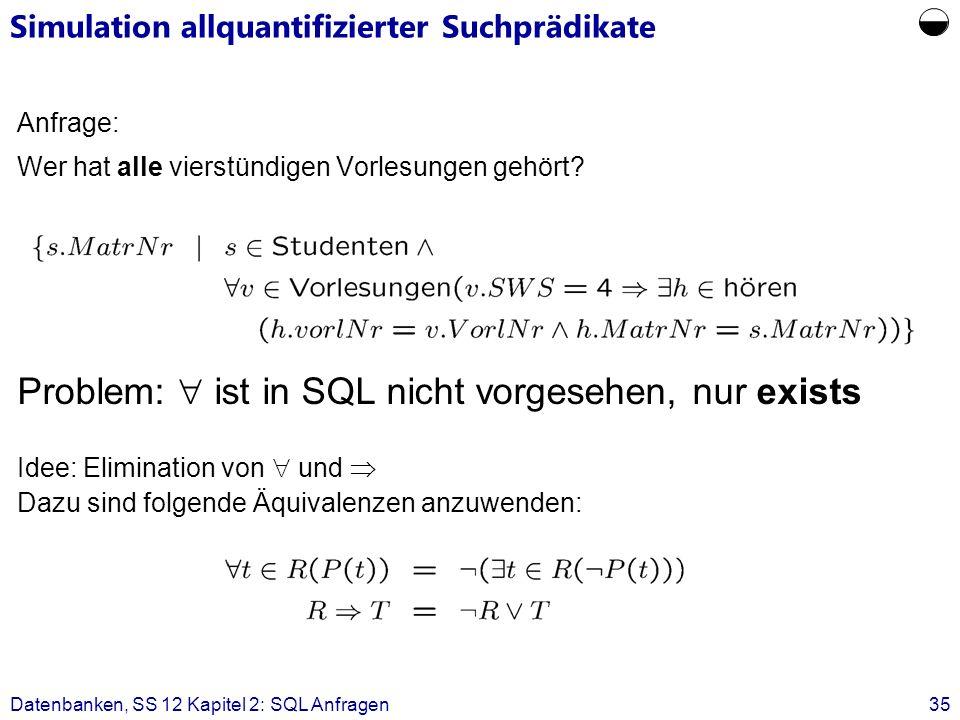 Simulation allquantifizierter Suchprädikate