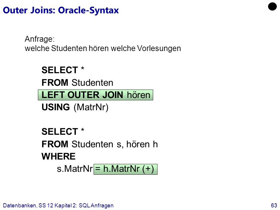 Outer Joins: Oracle-Syntax
