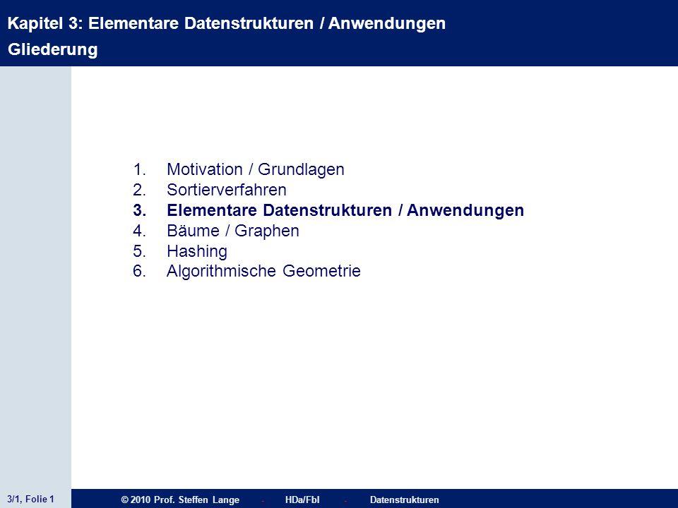 GliederungMotivation / Grundlagen. Sortierverfahren. Elementare Datenstrukturen / Anwendungen. Bäume / Graphen.