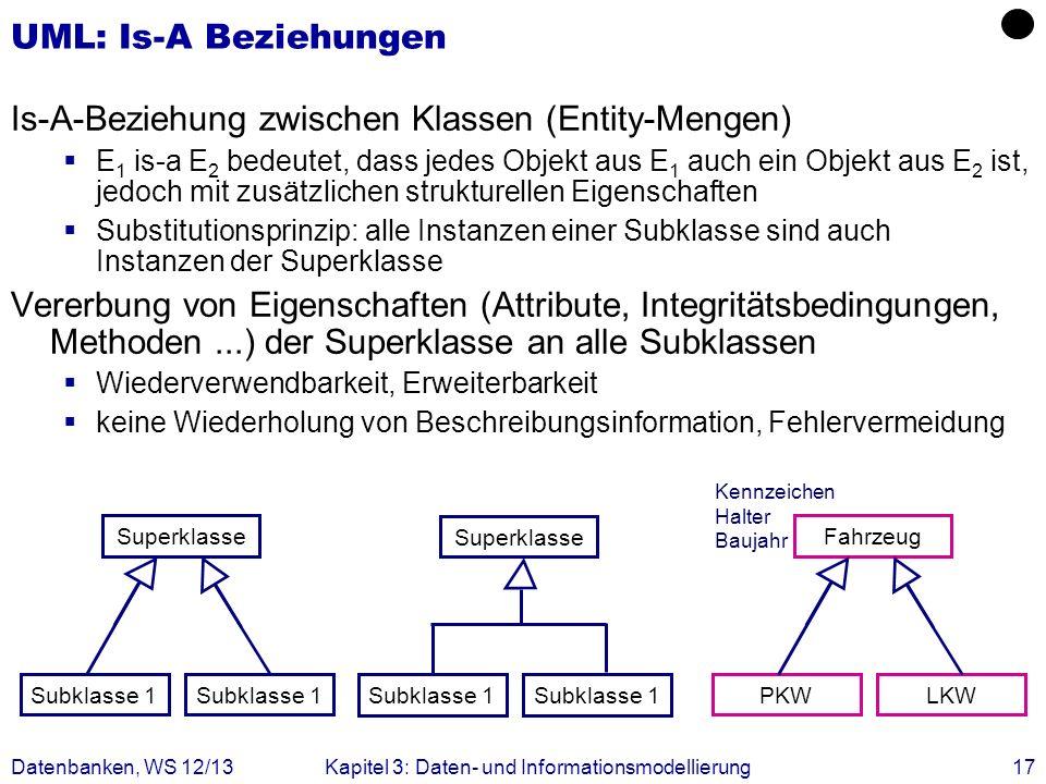 Is-A-Beziehung zwischen Klassen (Entity-Mengen)