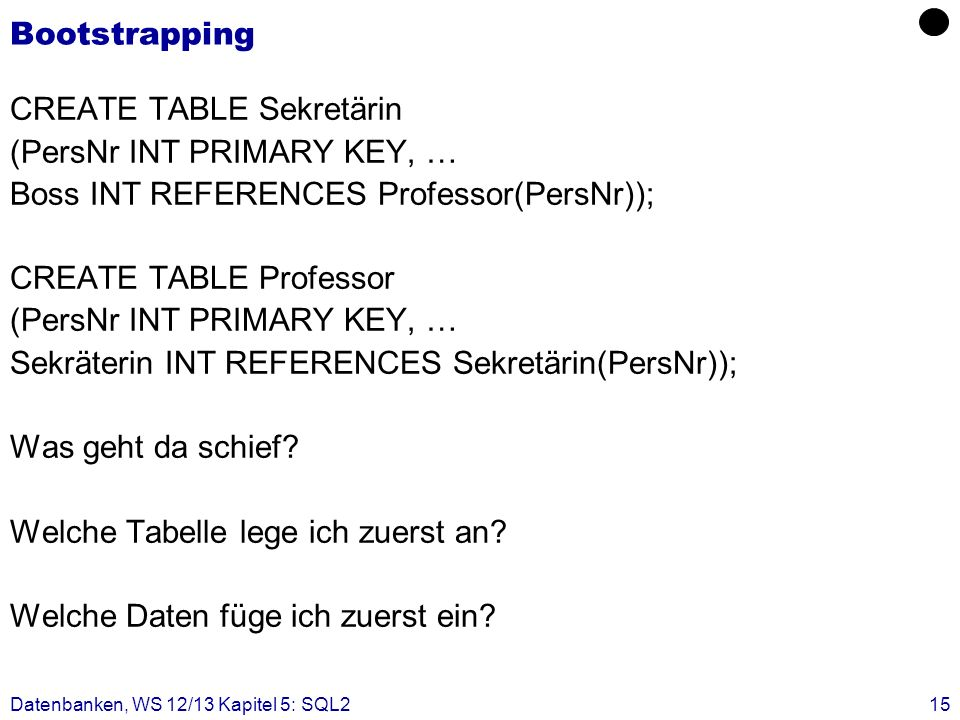 CREATE TABLE Sekretärin (PersNr INT PRIMARY KEY, …