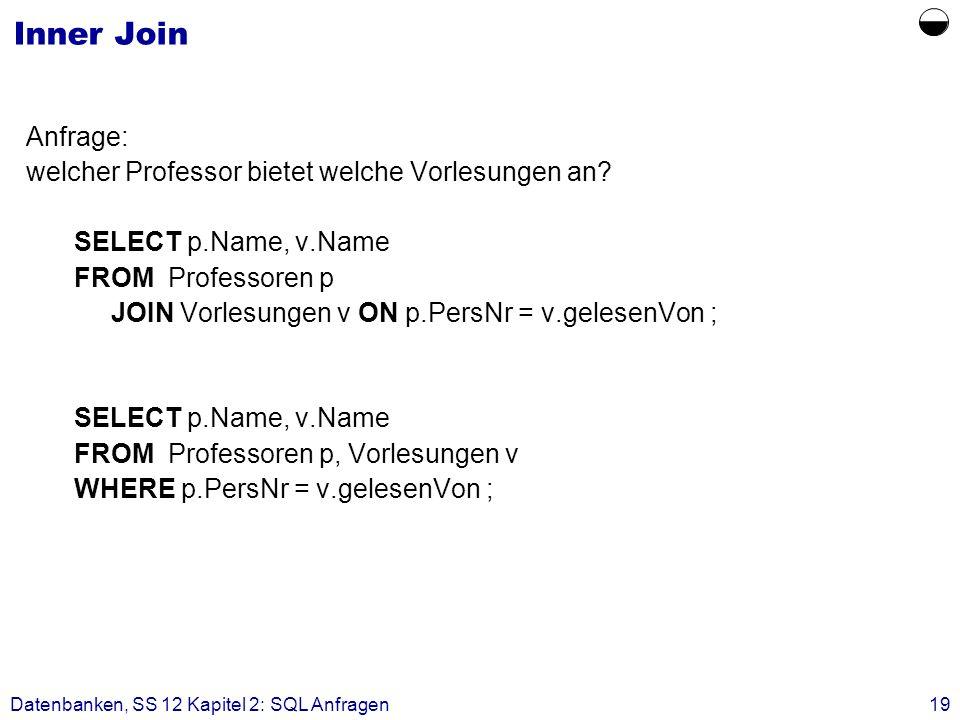  Inner Join Anfrage: welcher Professor bietet welche Vorlesungen an