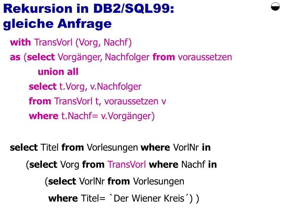 Rekursion in DB2/SQL99: gleiche Anfrage