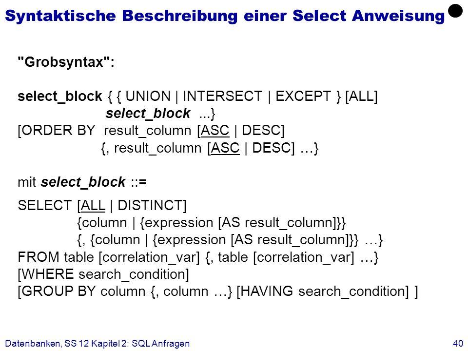 Syntaktische Beschreibung einer Select Anweisung