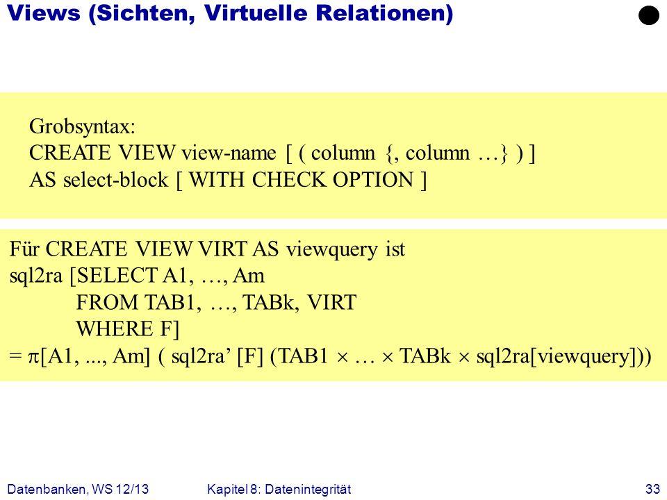 Views (Sichten, Virtuelle Relationen)