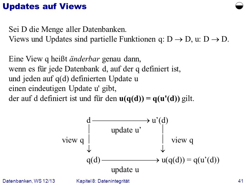  Updates auf Views Sei D die Menge aller Datenbanken.