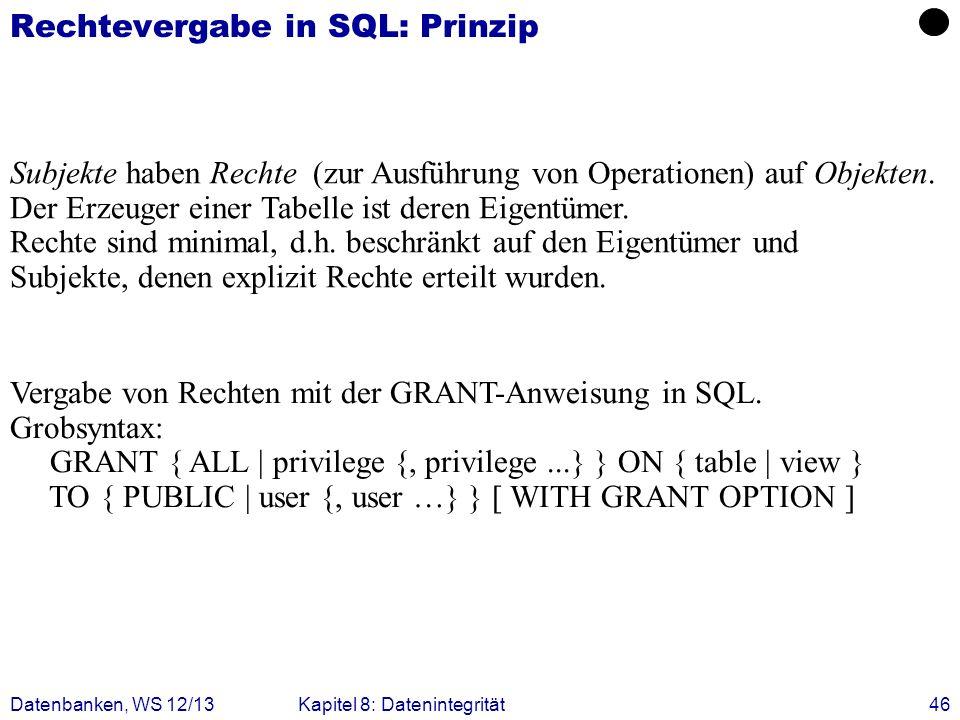 Rechtevergabe in SQL: Prinzip