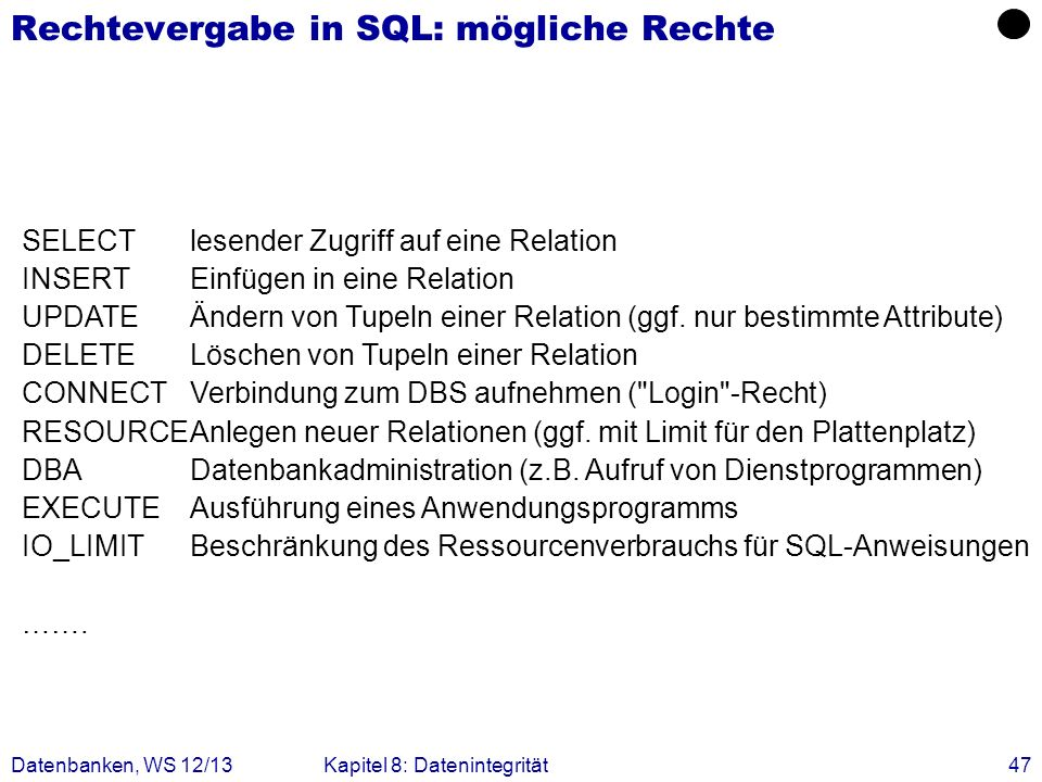 Rechtevergabe in SQL: mögliche Rechte