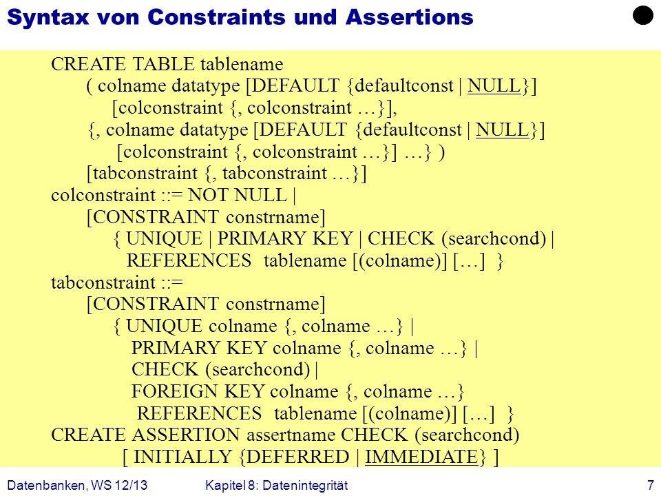 Syntax von Constraints und Assertions