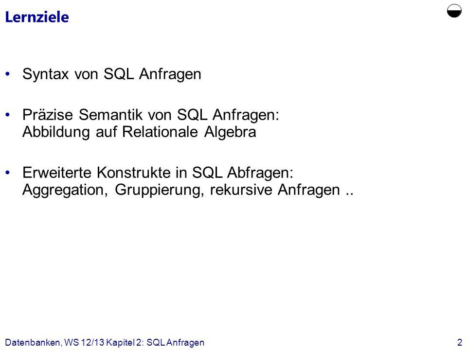  Lernziele Syntax von SQL Anfragen