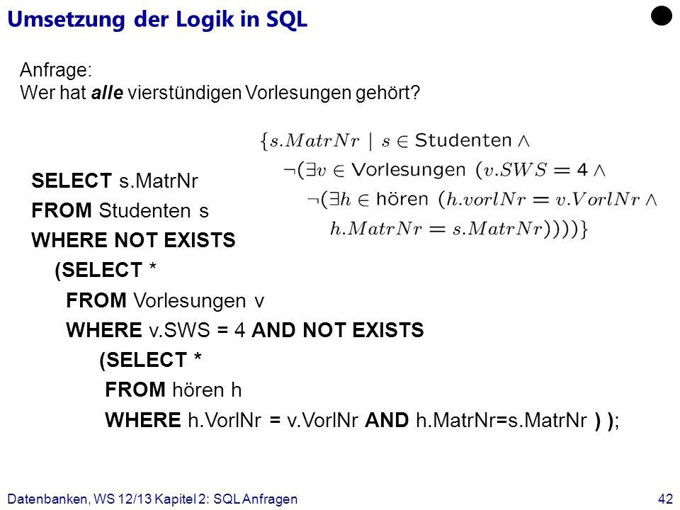 Umsetzung der Logik in SQL