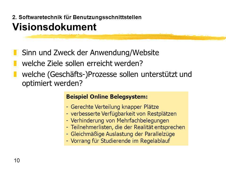 2. Softwaretechnik für Benutzungsschnittstellen Visionsdokument