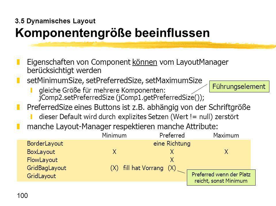3.5 Dynamisches Layout Komponentengröße beeinflussen