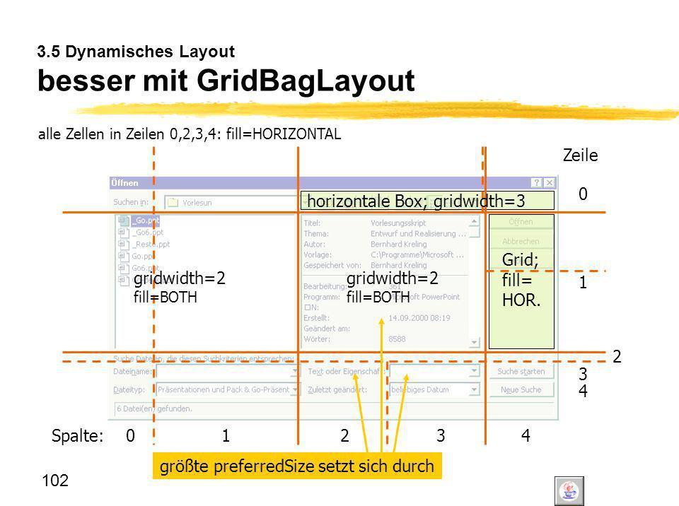 3.5 Dynamisches Layout besser mit GridBagLayout