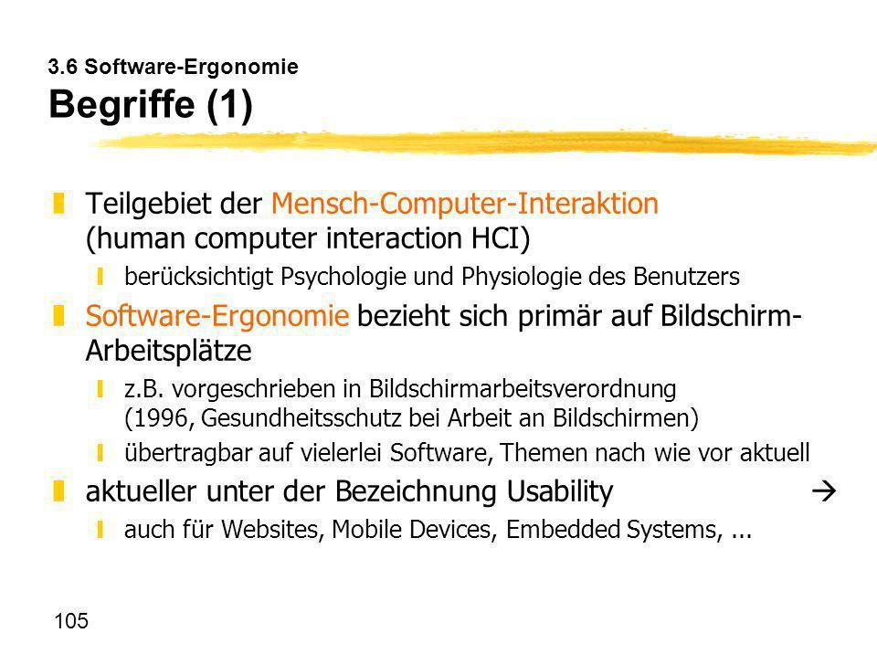 3.6 Software-Ergonomie Begriffe (1)