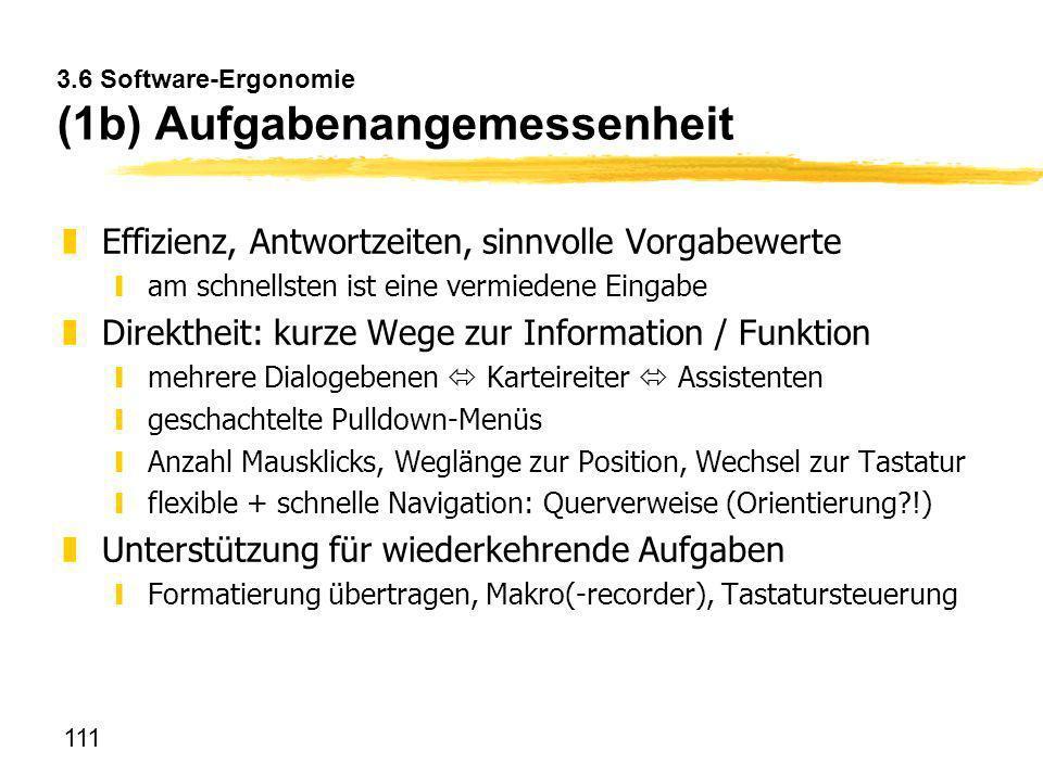 3.6 Software-Ergonomie (1b) Aufgabenangemessenheit