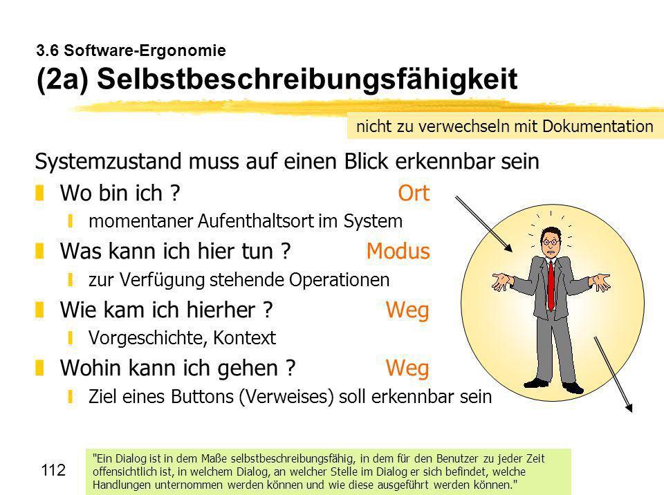3.6 Software-Ergonomie (2a) Selbstbeschreibungsfähigkeit