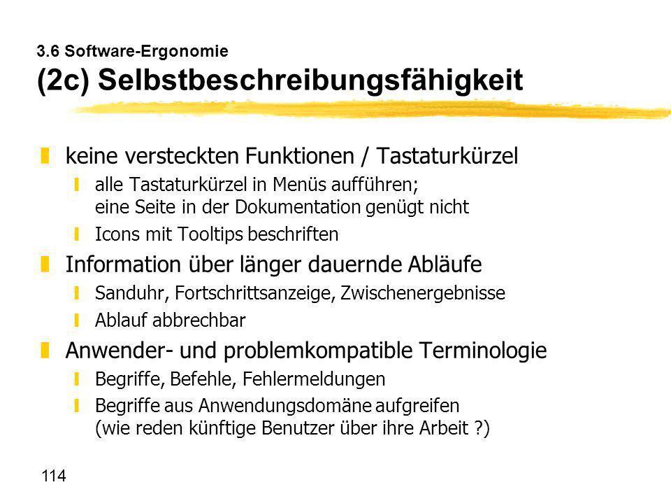 3.6 Software-Ergonomie (2c) Selbstbeschreibungsfähigkeit