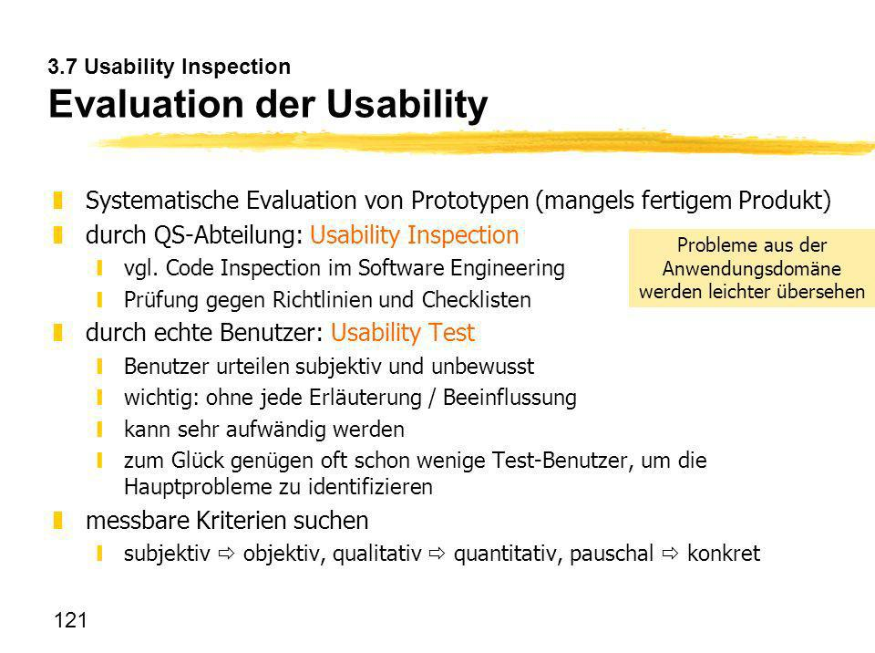 3.7 Usability Inspection Evaluation der Usability