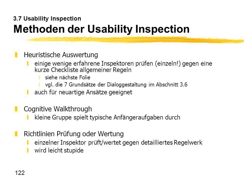 3.7 Usability Inspection Methoden der Usability Inspection