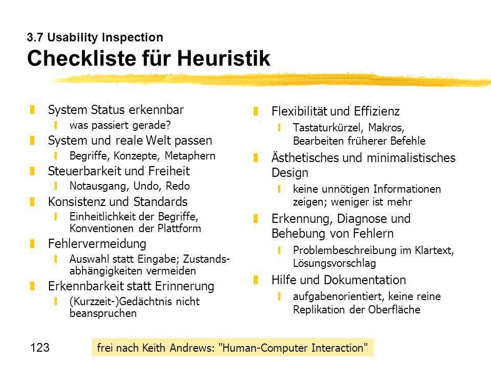 3.7 Usability Inspection Checkliste für Heuristik
