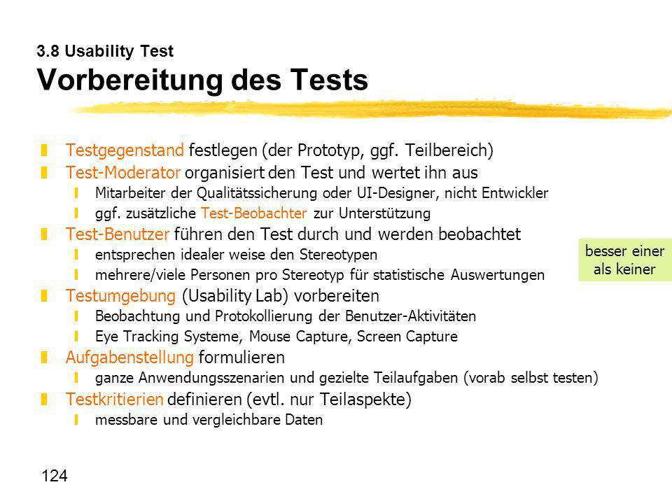 3.8 Usability Test Vorbereitung des Tests