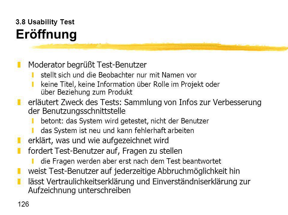 3.8 Usability Test Eröffnung