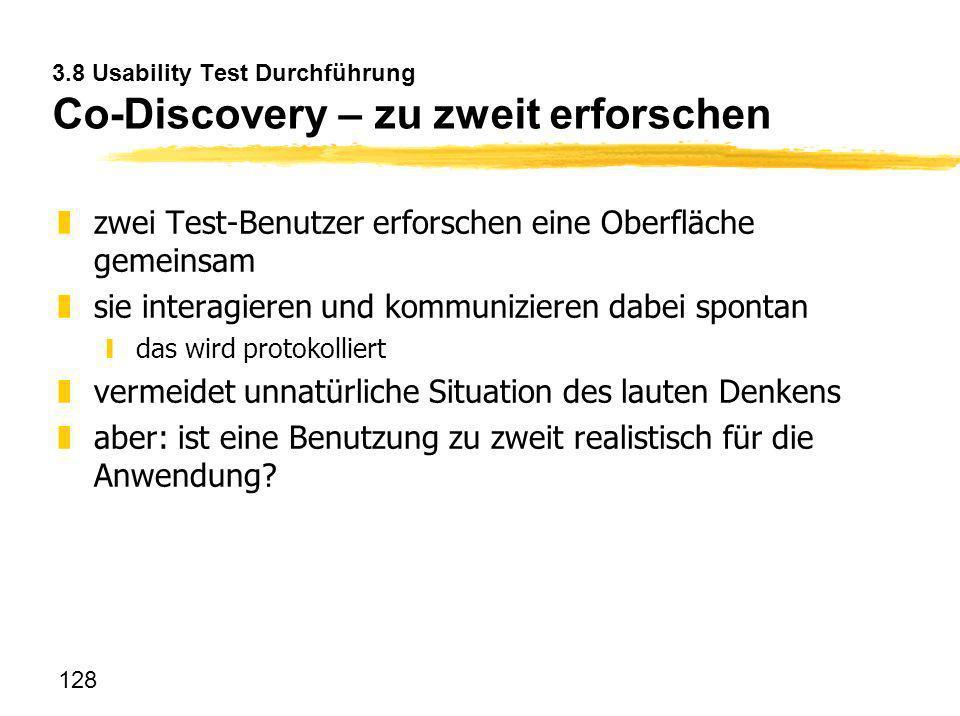 3.8 Usability Test Durchführung Co-Discovery – zu zweit erforschen