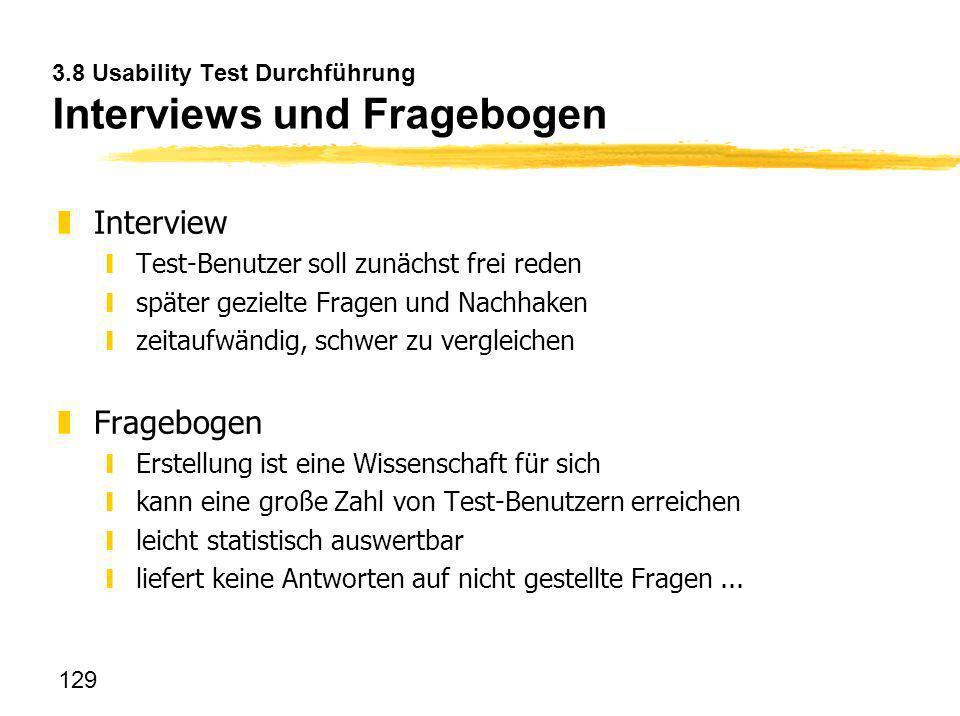 3.8 Usability Test Durchführung Interviews und Fragebogen