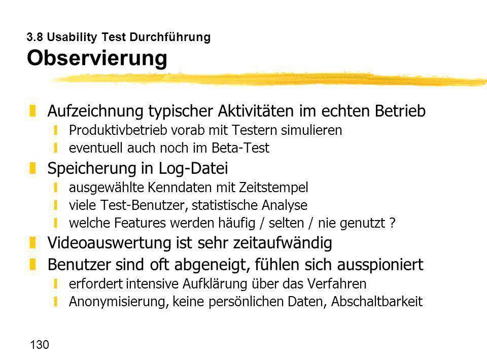 3.8 Usability Test Durchführung Observierung