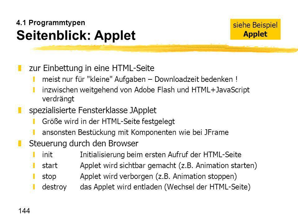 4.1 Programmtypen Seitenblick: Applet