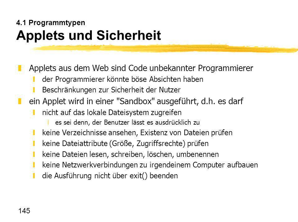 4.1 Programmtypen Applets und Sicherheit