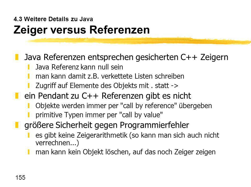 4.3 Weitere Details zu Java Zeiger versus Referenzen