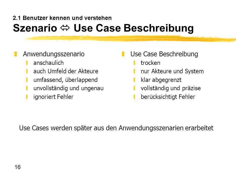 2.1 Benutzer kennen und verstehen Szenario  Use Case Beschreibung