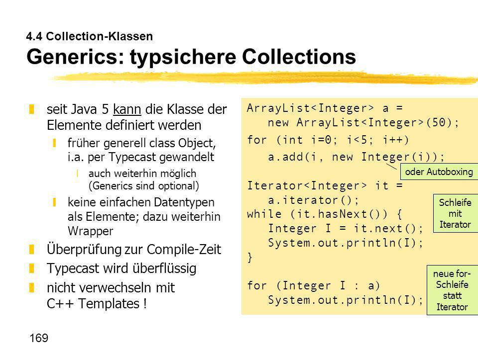 4.4 Collection-Klassen Generics: typsichere Collections