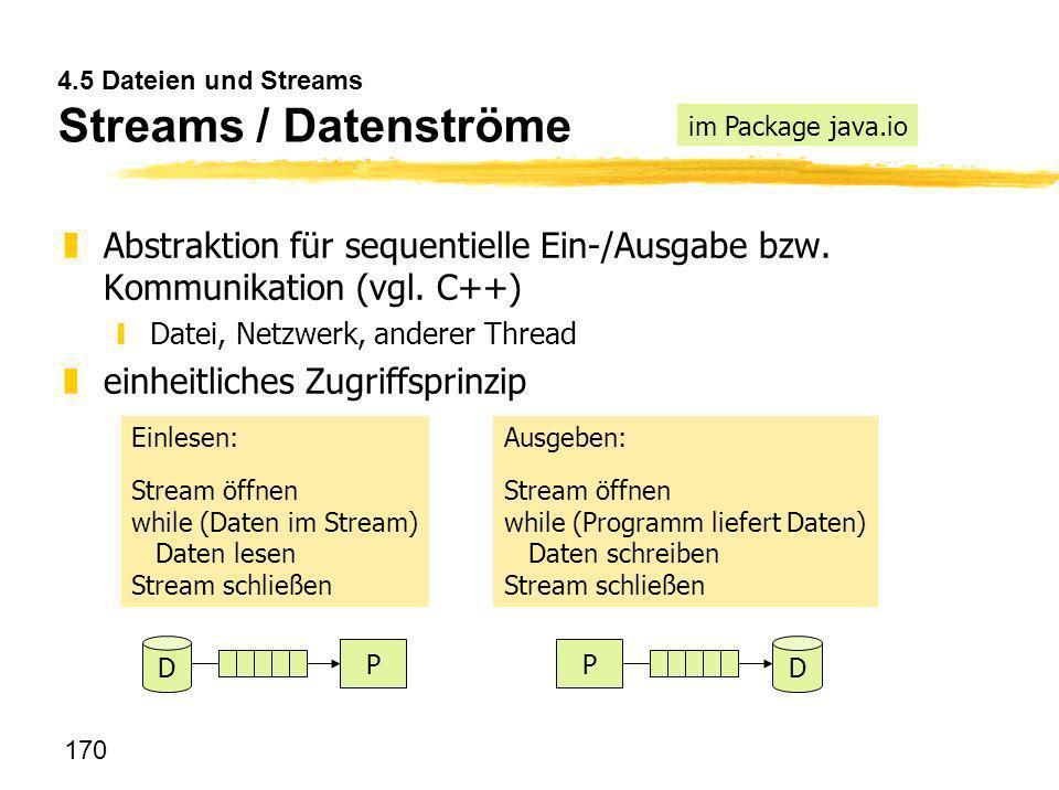 4.5 Dateien und Streams Streams / Datenströme