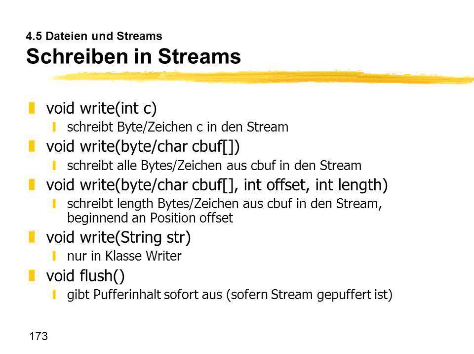 4.5 Dateien und Streams Schreiben in Streams
