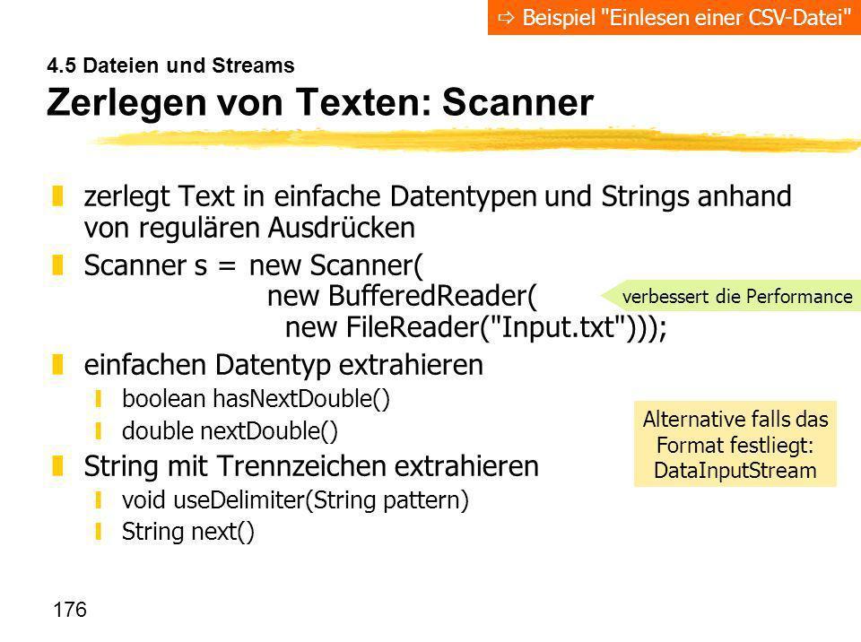 4.5 Dateien und Streams Zerlegen von Texten: Scanner