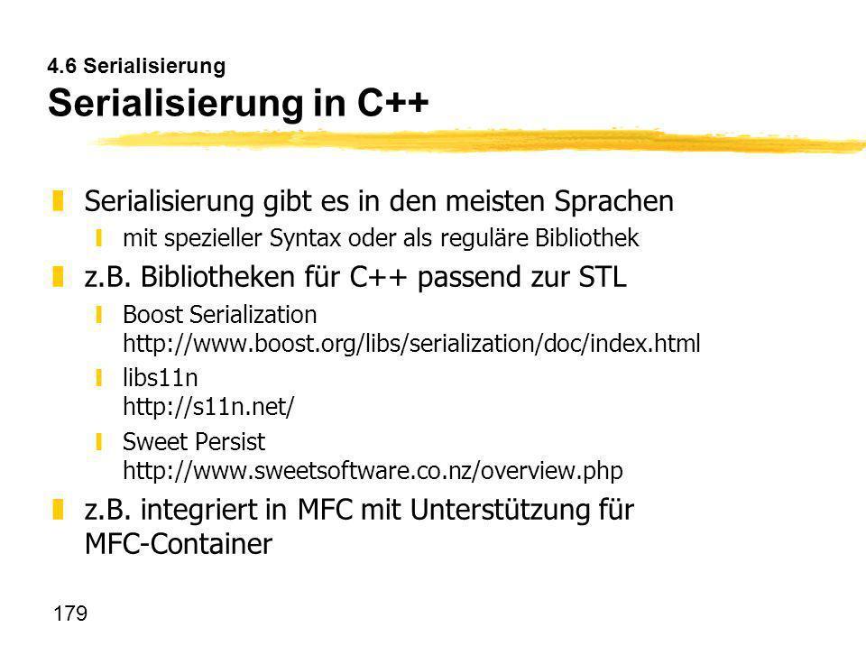 4.6 Serialisierung Serialisierung in C++