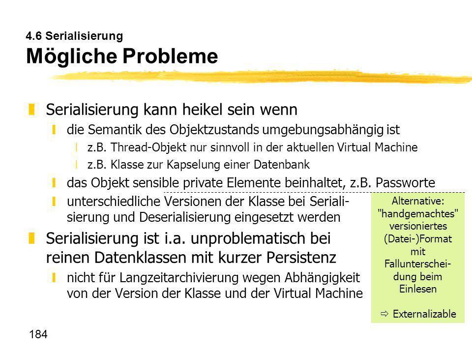 4.6 Serialisierung Mögliche Probleme