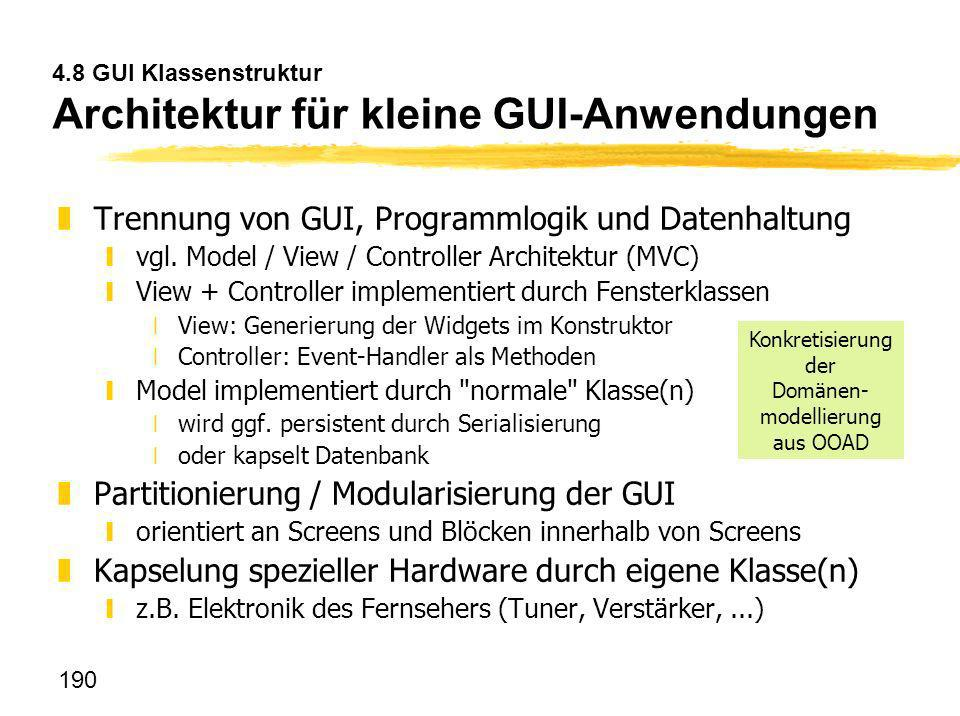 4.8 GUI Klassenstruktur Architektur für kleine GUI-Anwendungen