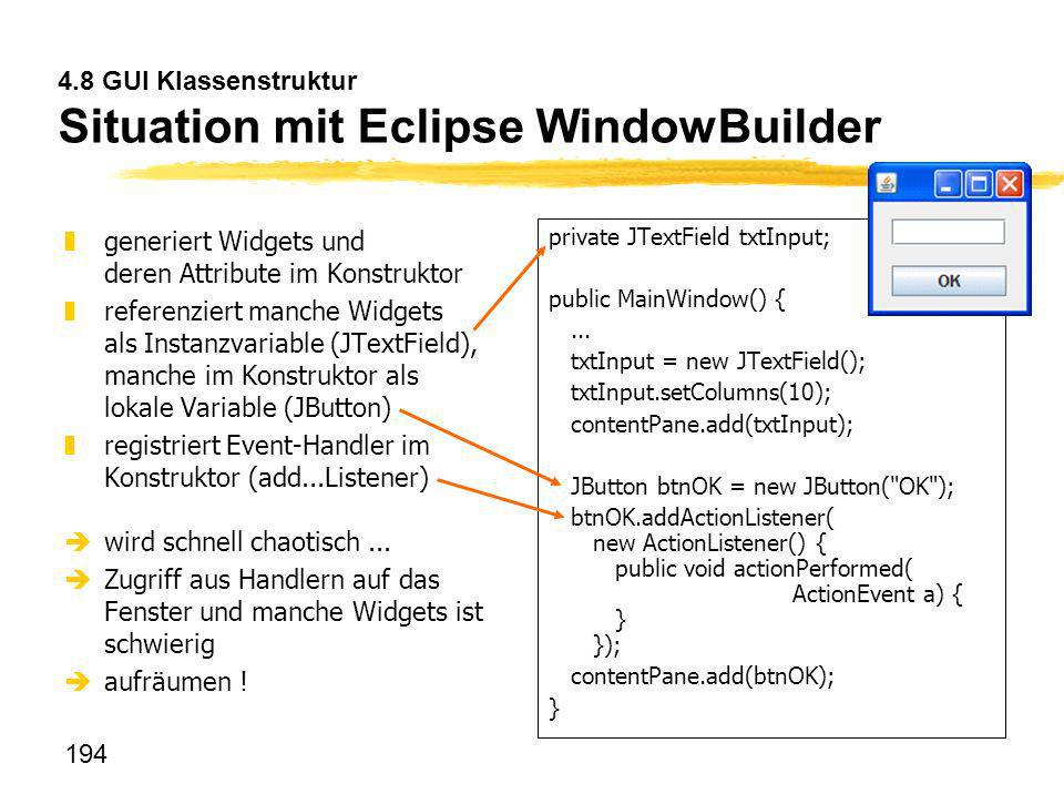 4.8 GUI Klassenstruktur Situation mit Eclipse WindowBuilder