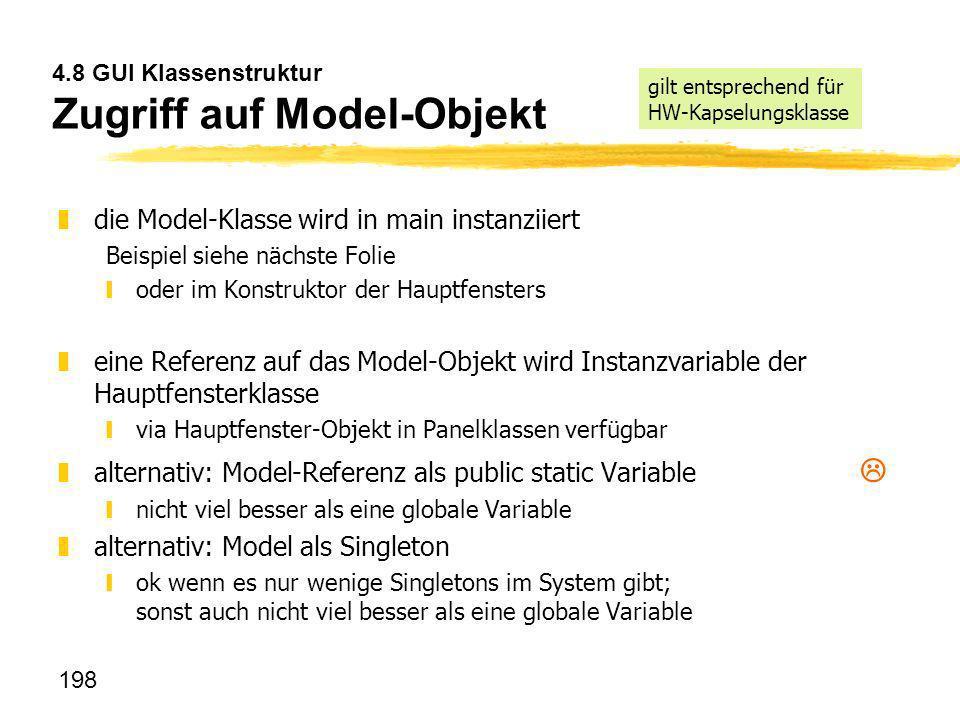 4.8 GUI Klassenstruktur Zugriff auf Model-Objekt